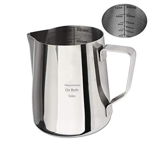 Magnetpro Milchkännchen, Milk Pitcher 350ml / 12 fl.oz. Milchkanne aus Edelstahl, Milch Aufschäumen für Cappuccino und Latté, Messungen auf beiden Seiten im Inneren (350 ml) thumbnail
