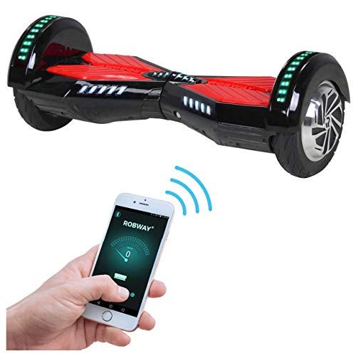 Robway W2 Hoverboard - Das Original - Samsung Marken Akku - Self Balance - Bluetooth - 2 x 350 Watt Motoren - 8 Zoll Räder (Schwarz/Rot)