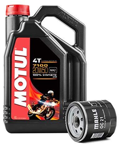 Motul Servizio Cambio Olio Moto Duo 7100 4T 20W-50 Sintetico 4 Litri + Filtro Olio Harley Davidson OC21