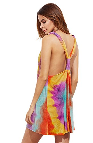 ROMWE Damen Tie-Dye Strandkleid V Ausschnitt Regenbogen Farbstoff Pastell Sommerkkleid Tank-Kleid (M, Rot Bunt)