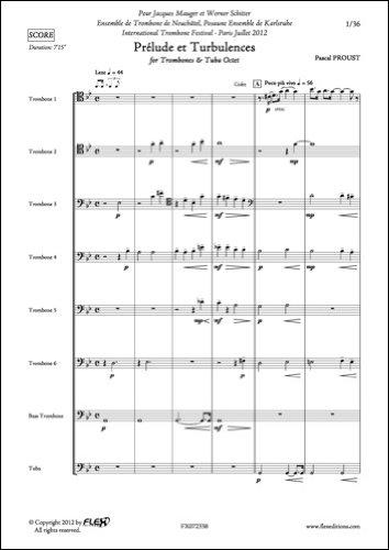 Descargar Libro PARTITURA CLASICA - Prélude et Turbulences - P. PROUST - Trombones and Tuba Octet de PROUST Pascal