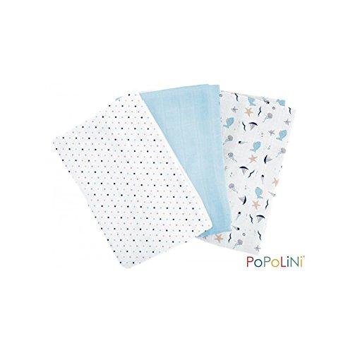 Preisvergleich Produktbild Popolini Mullwindeln 70x70 cm aus Bio-Baumwolle 3er-Set (St. Malo)