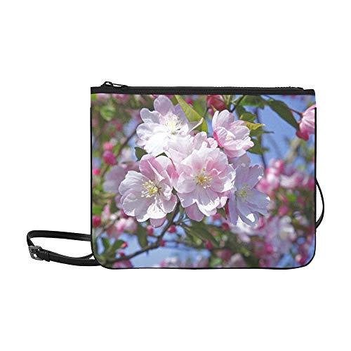 WOCNEMP Schöne rosa Blume im Frühling Muster benutzerdefinierte hochwertige Nylon dünne Clutch Bag Cross-Body Bag Umhängetasche -