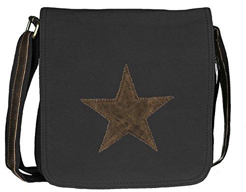 Mevina Damen Umhängetasche Stern aus Canvas Schultertasche Henkeltasche Schwarz A1222