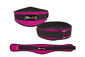 """Met-X Womens Weight Lifting Fitness Gym Belts Back Support Pink Training Belts (XS 24""""-28"""")"""