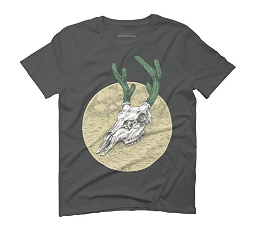 Deer Cactus Men's Graphic T-Shirt - Design By Humans Anthracite