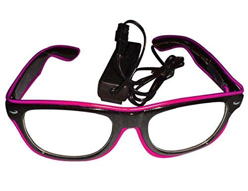THEE LED Leuchten Brille Partybrille Leuchtbrille Party Club Halloween Karneval Fasching Fastnacht Kostüm mit Batterie Box