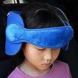 FREESOO Kopfstütze Kopfstützhalter für Kinder Nackenstützen Kindersitz Befestigung Einstellbare Laufställe Auto Schlafkissen Blau