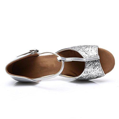 HROYL Damen Tanzschuhe/Latin Dance Schuhe Satin Ballsaal Modell-D7-216 Silber EU39 - 4