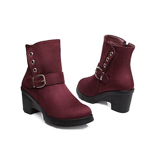AgooLar Damen Schließen Zehe Niedrig-Spitze Hoher Absatz PU Leder Stiefel, Rot, 35