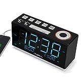Radio Reloj Despertador iTOMA FM, Alarma Digital con luz Nocturna, Alarma Dual Control de atenuación de atenuación Doble, Gran Pantalla LED Azul Hielo de 1,8 Pulgadas, batería de Respaldo