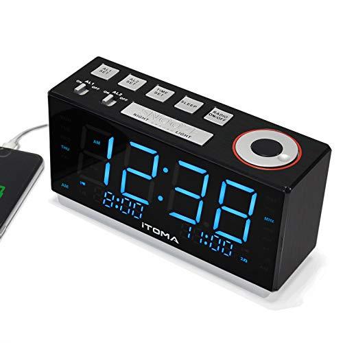Radiowecker, iTOMA FM Digital Radiowecker Nachttisch-Wecker mit Nachtlicht, Zwei Alarme, automatische Dimmersteuerung, 1,8-Zoll-große eisblaue LED-Anzeige, USB-Aufladung (iTOMA CKS508)