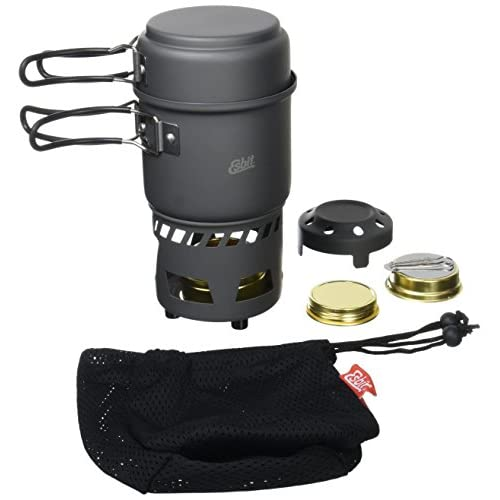 41TjY8O%2BPIL. SS500  - Esbit Cookset with Alcohol Burner | Compact Size | Large & Small Pot | Camping, Backpacking, Hiking | Outdoor kitchen
