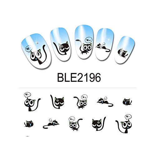 beaute design - Water decal - chat ble_2196