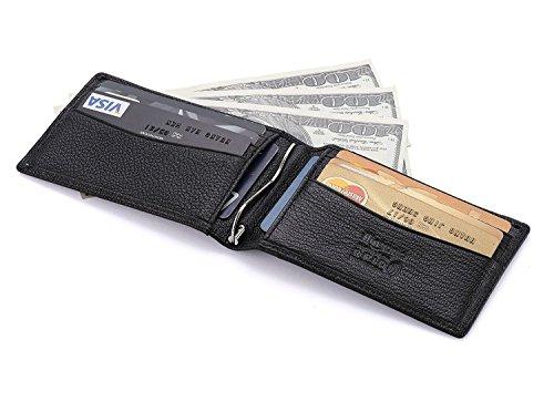 flintronic RFID Bloqueo Monedero de Cuero, Carpeta del Cuero,Billetera Cartera Slim Tarjeta de Crédito