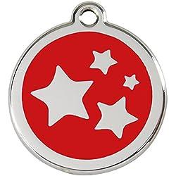 Red Dingo Médaille pour Chien Motif Etoiles Rouge 20 mm