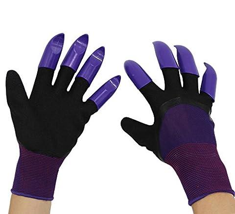 Garten Genie Handschuhe mit 8Krallen; Garten Handschuhe Schnell und einfach zu Dig & Plant Pflanzen, -as Seen on TV, ABS-Kunststoff Krallen auf jeder Hände von yakey, bunt, schwarz, violett, Einheitsgröße