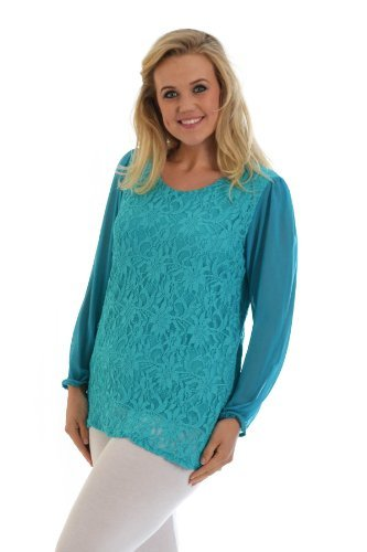 Chiffon Sleeve Lace Top Teal 30-32 (Lace Teal Top)