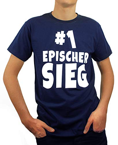Artdiktat | Epischer Sieg | Kinder T-Shirt Hoodie - Zocken Team - Funshirt Humor Fun Spaß Kult Funny Spruch Größe 152/164, Navy