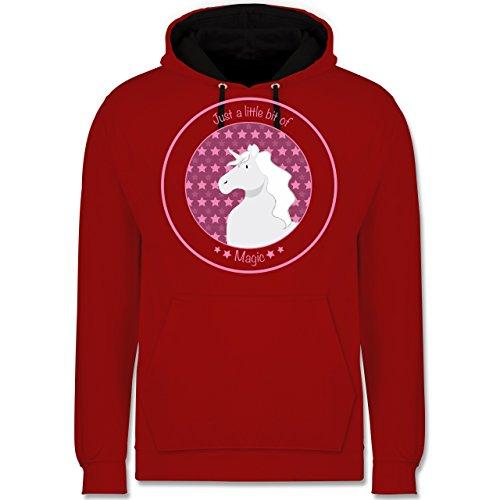 Einhörner - Einhorn rosa - Kontrast Hoodie Rot/Schwarz