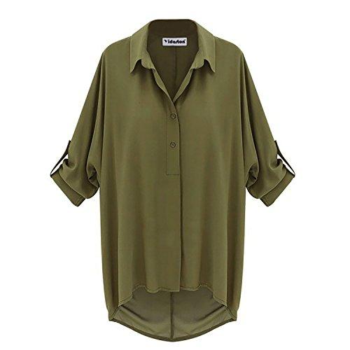 Manica in chiffon camicetta lungo Allentato T-shirt Top (T-shirt Manica Lunga Camicia Verde)
