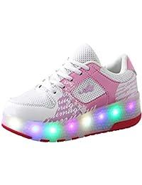 Recollect Unisex Zapatos de Ruedas Skate Led Luz Zapatillas con Ruedas Patines Deportes Zapatos para Niños