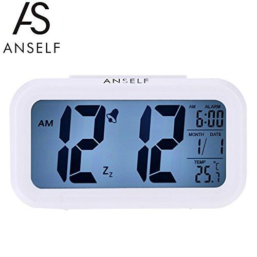 Anself LED Digital Clock snooze di ripetizione attivato dalla luce della retroilluminazione del sensore di temperatura della data Display Allarme (bianco)