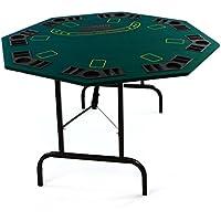 Nexos Profi Casino Pokertisch klappbar 8-eckig L 120 x B 120 x H 72 cm, Getränkehalter Chiptrays Pokerauflage Tischauflage Klapptisch