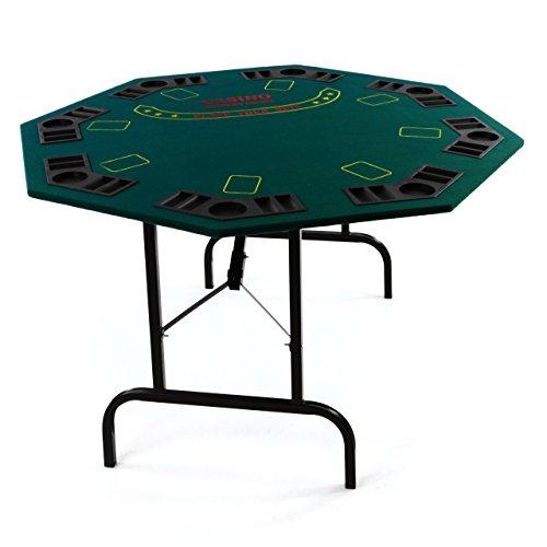 Casino Poker Tisch 8eckig für 8 Personen mit Getränkehalter klappbar