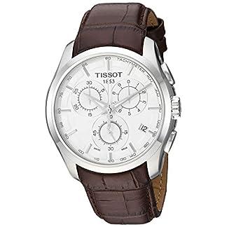 Tissot T0356171603100 – Reloj analógico de caballero de cuarzo con correa de piel marrón