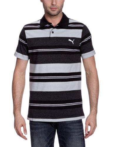 Puma Herren Polo Shirt Striped, black-quarry-dark heather, L, 821791 01