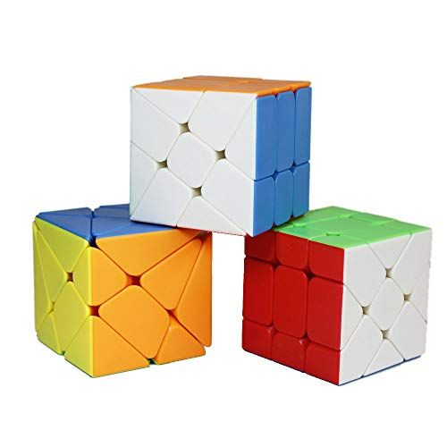 OJIN MoYu MOFANGJIAOSHI CUBING CLASSROOM MFJS Specific Speed Cube Puzzle Sets-Pack of 3 (Include 3X3 Axis Cube, Windmill Cube 2x3 Shape Mod, Speed Fisher Cube 3x3x3 Shape Twisty Puzzle)