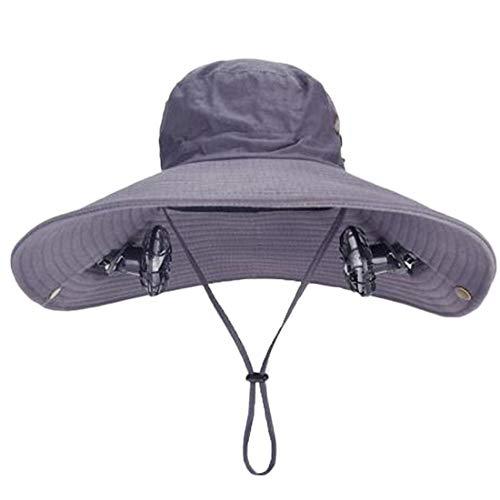 Solar-cool Cap (ANHPI Doppelter Solar Fan Hut männlich Sommer- draussen Sonnenschutz Anti-UV Große Traufe Atmungsaktiv Schatten Fischers Hut Sportmütze, 4 Farben (Color : #1, Size : Head Circumference (54-60cm)))