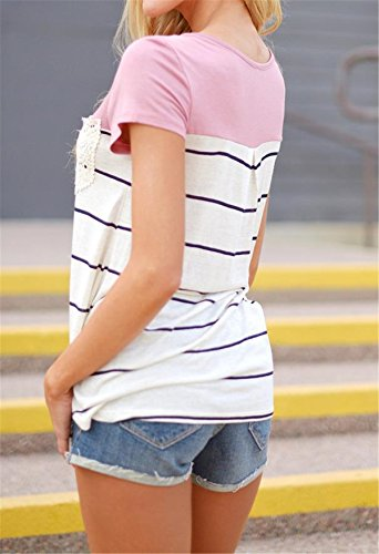 SHUNLIU Damen Girl Frühling Top Weich T-Shirt Funny Kurze Ärmel Mode Rosa