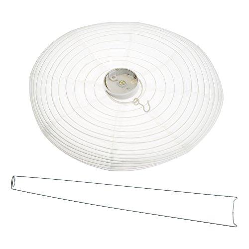 Weißer LED-Lampion Ø 40 cm, warmweißes Licht, batteriebetrieben