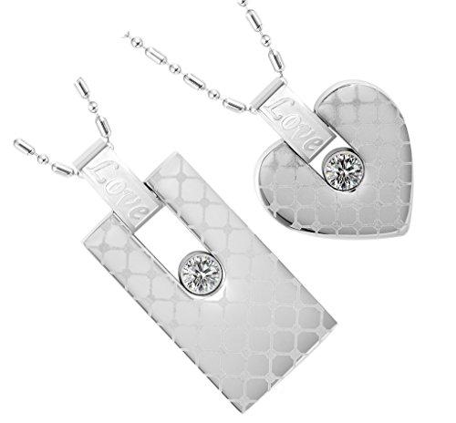 Acier Inoxydable Colliers, Femmes Pendentif Chaîne Rectangle Amour Cz Motiving Epinki Argent (2)