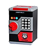 NUÜR Safe Piggy Bank for Boys and Girls, Electronic Password Money Coin Bank Toys with Automatic Money Scroll, Gift for Christmas and Birthday (Black)