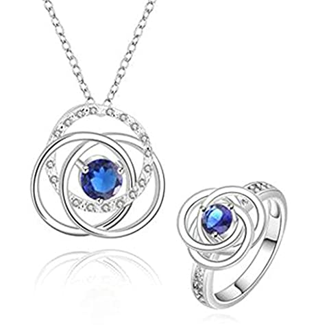 AMDXD Jewelry Gold Plated Women Jewelry Sets Three Circles Blue CZ Necklace Rings Size 8