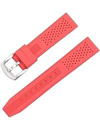 af73e9c35fa7 rojo silicio reloj de 22 mm correas de reloj de reemplazo de correas de  reloj de pulsera de caucho resistente al agua…