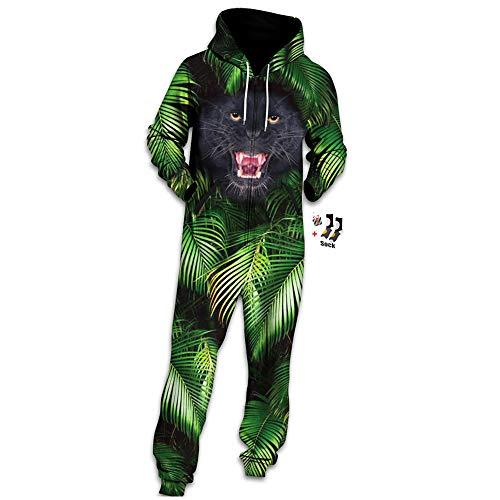 Morbuy Herren Jumpsuit Jogger, Unisex Herren Kapuzenpullover Strampelanzug 3D Printed Onepiece Sweatshirt Männer Strampler Weich Nachtwäsche Fitness Bekleidung (L, Dschungel-Leopard) -
