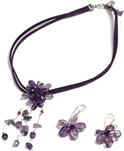 Oi! Amethyst and Crystal Flower Necklace and Earrings with Sterling Silver Hooks