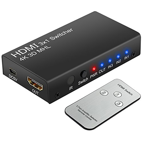 Neoteck 4K 3 Ports HDMI Switcher HDMI Switch 3 Input 1 Output 2160P 3D HDMI Splitter Box with IR Remote Control for PS3 Xbox 360 Sky Box Freesat Virgin Bluray Player DVD HDTV Projector Camcorder HTPC Laptop Test