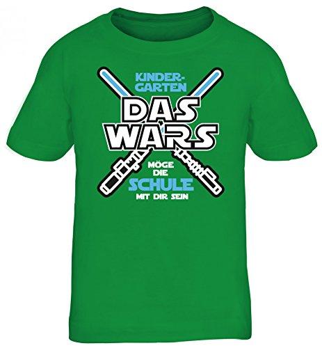 Einschulungsgeschenk Erstklässler Schulkind Kinder T-Shirt Laserschwert - Kindergarten Das Wars, Größe: 134/146,Kelly Green -