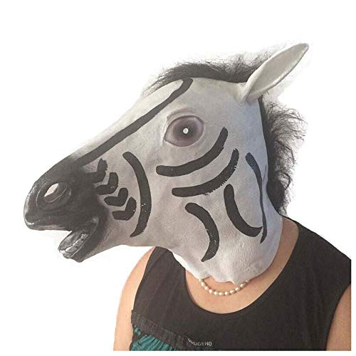YaPin Latex Zebra Kopf Maske Tier Kopfbedeckung Latex Maske Halloween Party Party Requisiten
