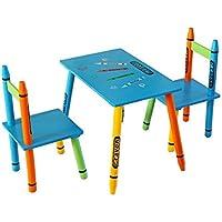 Bebe Style Set de 1 mesa y 2 sillas de madera, para niños