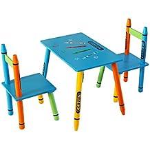 Bebe Style Bleistift/Crayon Themen Kindertischgruppe Sitzgruppe Tischgruppe bunt mit 1 Tisch und 2 Stühlen Holzbank