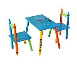 Kiddi Style Childrens Wooden Table and Chair Set, Blue