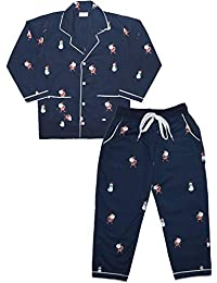 8c155a6106c ShopMozo Unisex Pure Cotton Printed Night Suit for Boys and Girls Pyjama  Top Combo Set (