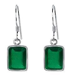 Idea Regalo - Orecchini in argento Sterling, con smeraldo, senza nichel, orecchini da sposa, orecchini in argento Sterling, set di orecchini verde smeraldo, gioielli per donne e anniversari di nozze (9,65 ct)