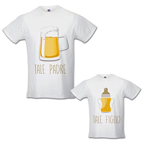 Coppia di t-shirt magliette papa' e figlio / figlia idea regalo festa del papa' tale padre tale figlio - birra bianche uomo xxl - bimbo 5-6 anni
